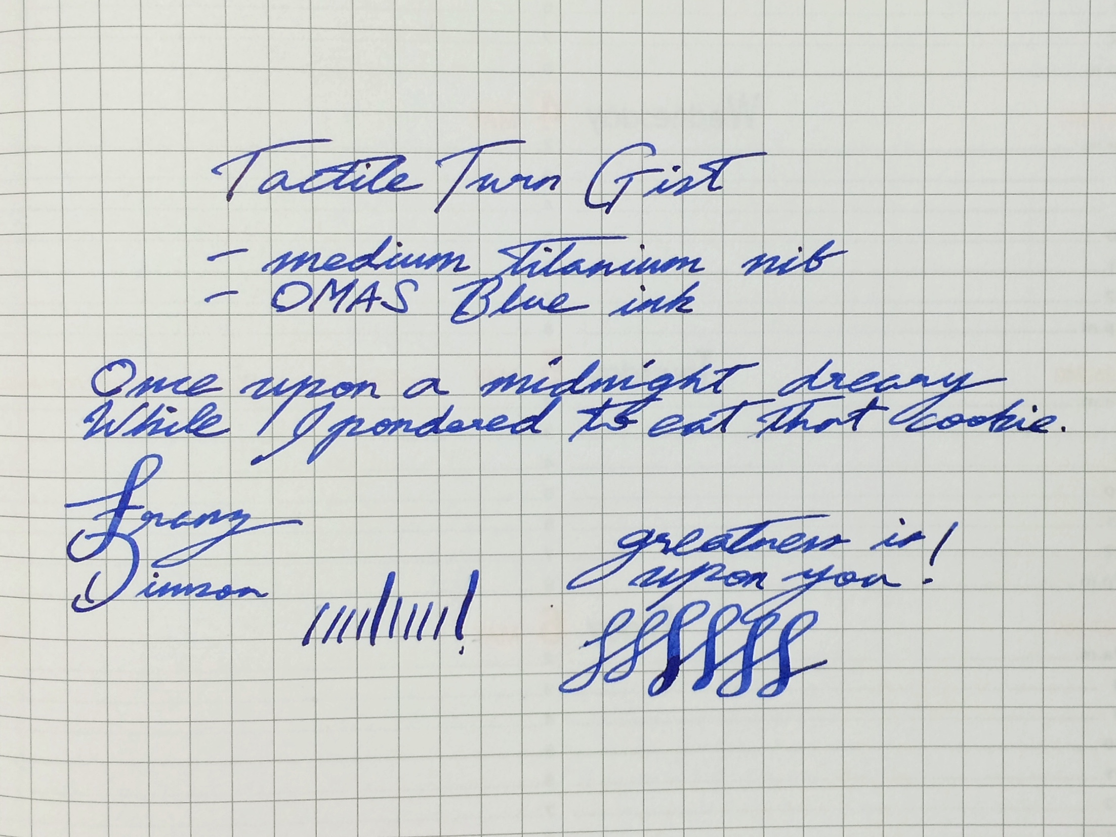Franz's writing sample of the Tactile Turn Gist