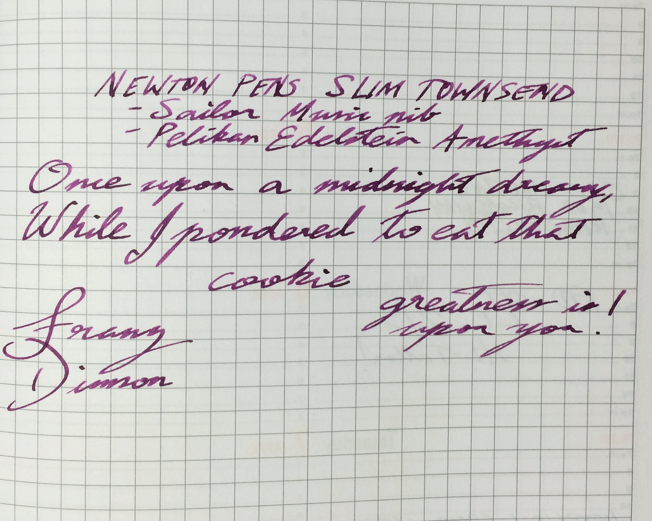 Franz's writing sample on a Rhodia Weekly Planner. Pelikan Edelstein Amethyst ink