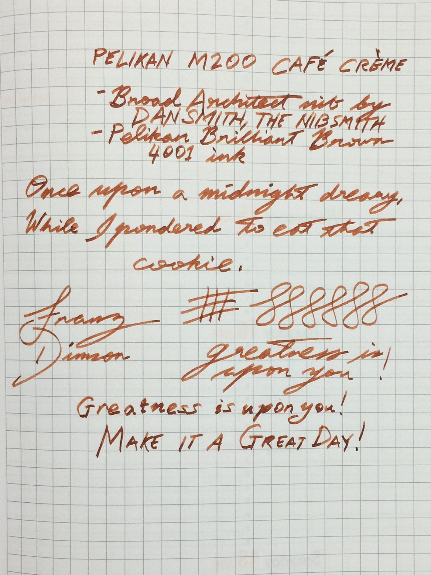 Franz's writing sample of the Pelikan M200 broad architect nib on a Rhodia Weekly Planner