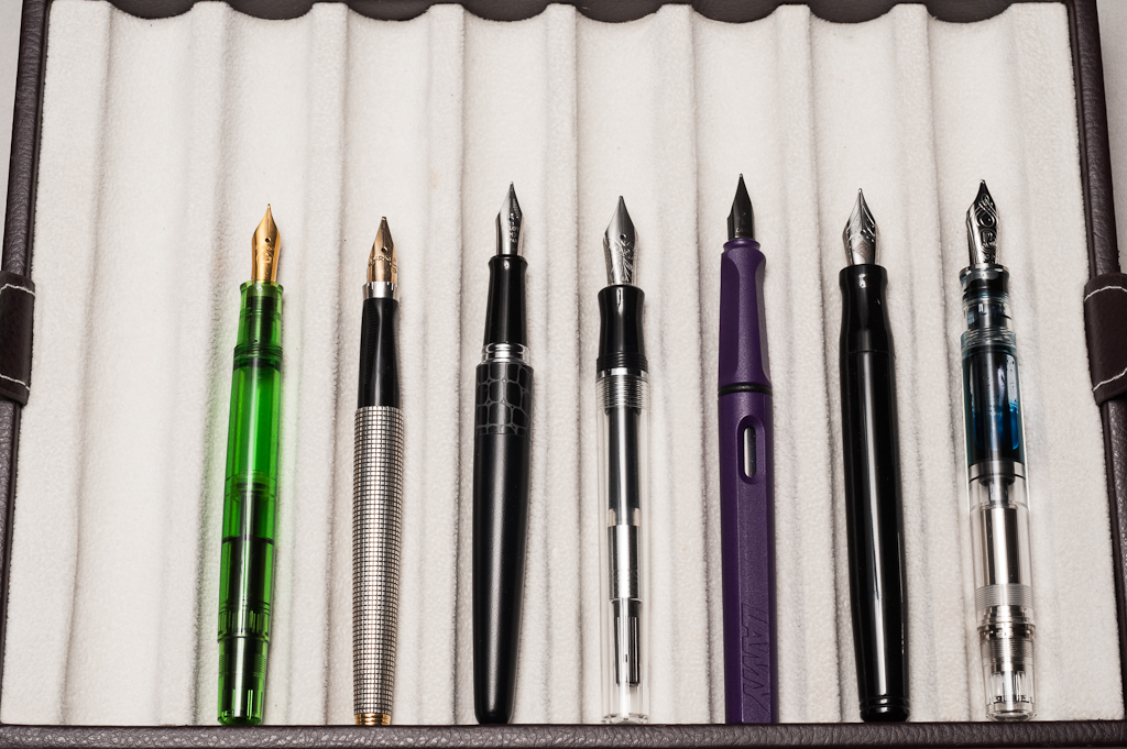 Unposted pens from left to right: Pelikan M200, Parker 75, Pilot Metropolitan, *Nemosine Singularity*, Lamy Safari, Franklin-Christoph Model 20, and Pelikan M805