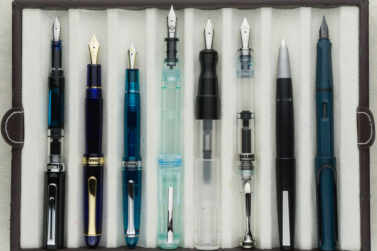 ... Posted pens from left to right: TWSBI Eco, Platinum 3776, Sailor 1911S, Franklin-Christoph Model 31, *Kasama Una*, Pelikan M805, Lamy 2000, ...
